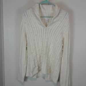 Cable Knit Sweater, Cowl neck, White Sz. XL